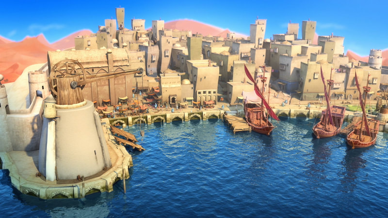 Production still from animated TV series Sherazade The Untold Stories of an ancient port town with ships in the harbour.